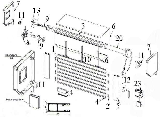 Shematski prikaz rolo vrata sa zaštitnom kutijom